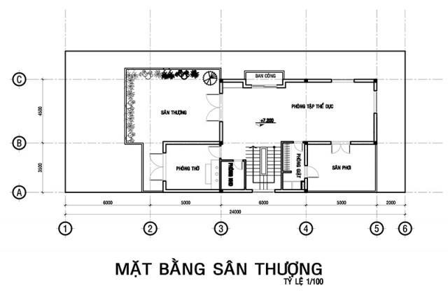 ban ve biet thu hien dai 3 tang 8x18m tang tum san thuong