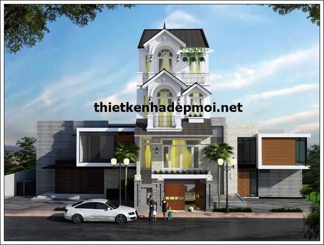 Mặt tiền mẫu thiết kế nhà phố đẹp 1 trệt 3 lầu ngang 6m kiểu pháp