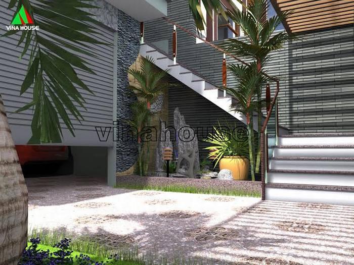 Thiết kế không gian sân trước mẫu nhà phố 2 mặt tiền 3 tầng đẹp