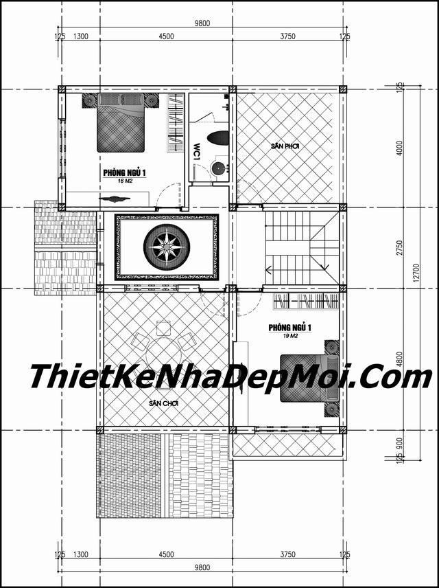 Mẫu nhà đẹp 1 trệt 1 lầu mái thái có sân thượng