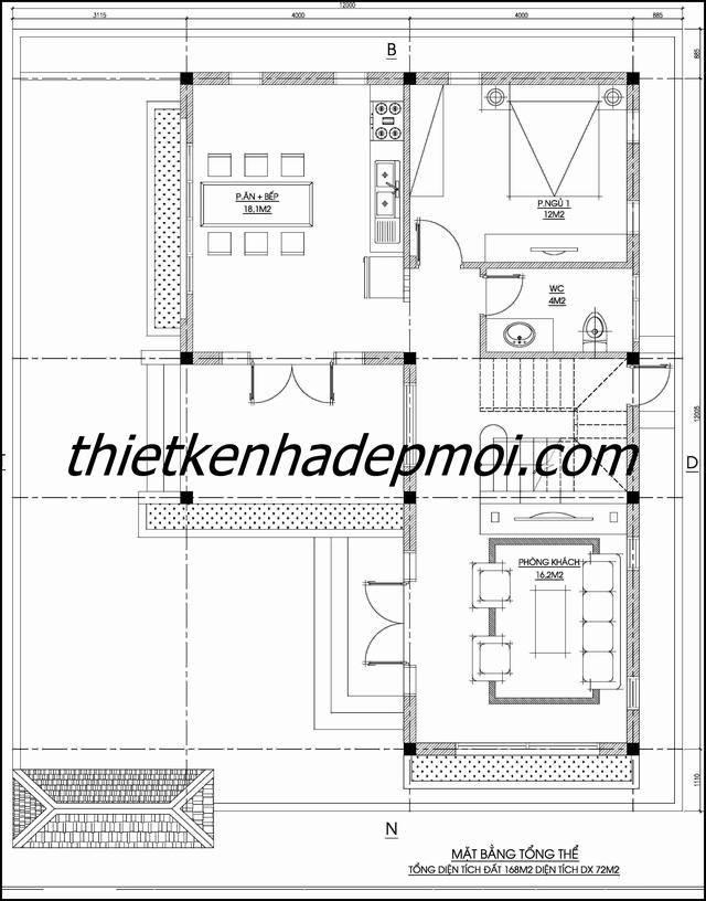 mẫu nhà đẹp 2 tầng mái thái ở nông thôn 1425
