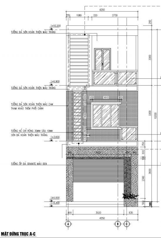 Bản vẽ chi tiết mặt bằng nhà phố 3 tầng