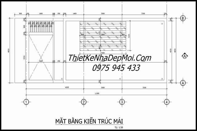 Bản vẽ kiến trúc mái nhà ống 4.5x11m 50m2