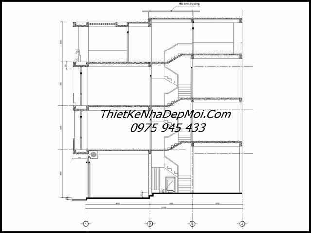 Mặt cắt nhà ống 4 tầng
