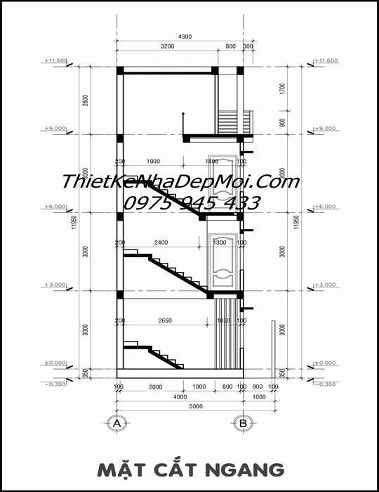 bản vẽ nhà lệch tầng 4m hiện đại