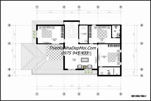 Bản vẽ thiết kế biệt thự vườn 2 tầng mặt bằng lầu
