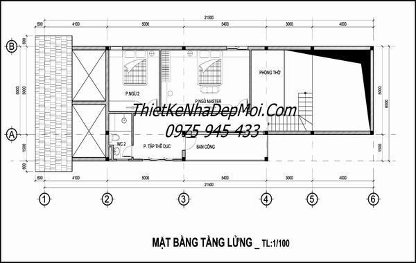 Mặt bằng kiến trúc nhà gác lửng làm phòng ngủ
