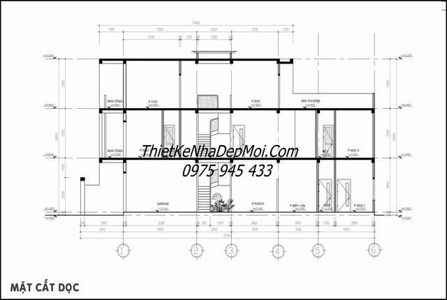 Bản vẽ nhà 1 trệt 1 lầu 1 sân thượng 5x20