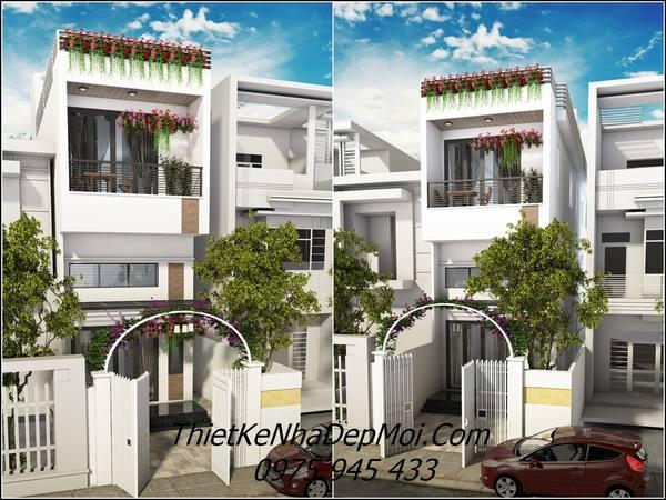 Mẫu thiết kế mặt tiền nhà phố 3 tầng 4x16m đẹp