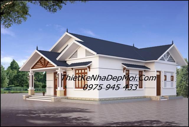 Mẫu nhà mái thái 1 tầng đẹp