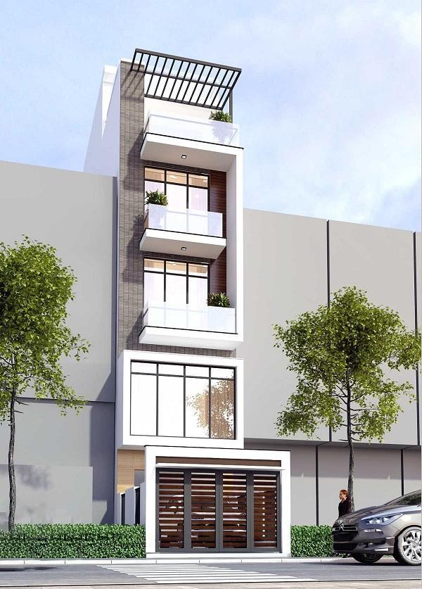 Mẫu nhà phố 5m mặt tiền có gara thang máy