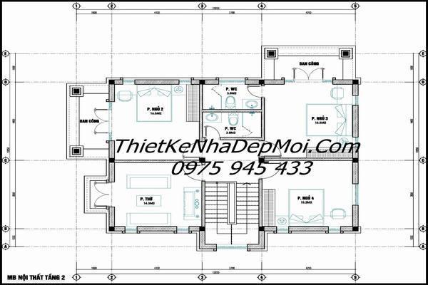 Bản vẽ nhà 2 tầng mái thái đầy đủ
