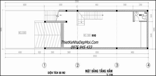 thiết kế nhà ống 5x20 có tầng hầm