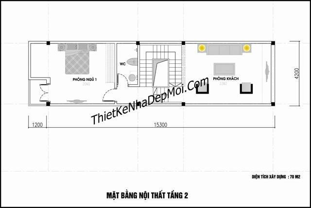 Thiết kế nhà phố 3 tầng 70m2